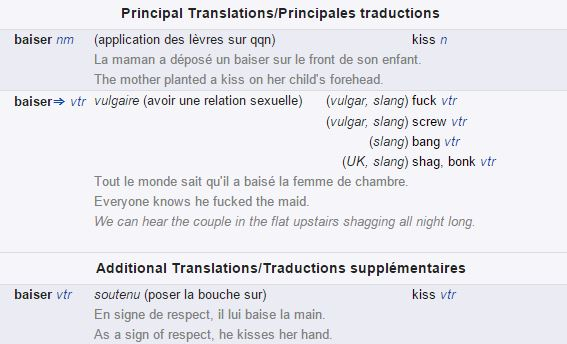 baiser dictionary definition