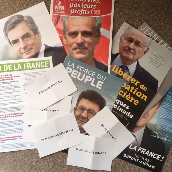 French presidential election: some of the ballot papers and official programs